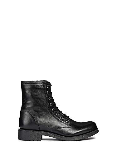 Geox D746RB Rawelle Modischer Damen Leder Stiefel, Biker Boot, Schnürstiefel, Ankle Boot, atmungsaktiv, Reißverschluss schwarz (Black), EU 38