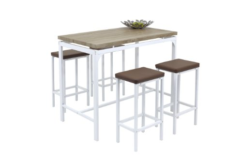 Bar-Set 5-teilig Angie, B120 x T70 x H104 cm, Dekor MDF Sonoma Eiche, Metallgestell weiß lackiert Apollo