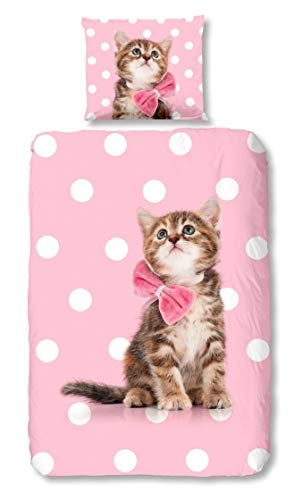 Good Morning Bettwäsche 6222 Katze Pink Tiermotiv Flanell 135 cm x 200 cm