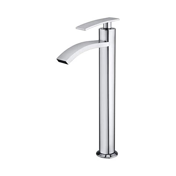 JAQUAR CORSA NIAGRA Pillar Cock extended high tall neck Valve single lever tap for Basin Sink with casted Foam Flow Water spout Surface Mounted Faucet Quarter Turn disc Brass Chrome Plated Finish for Bathroom Kitchen Purpose Alton/ kamal/ cera/ hindware t