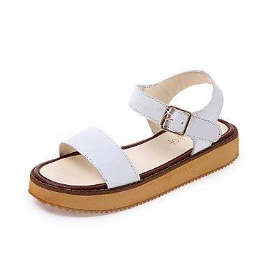 LvYuan Sandalen Sommer Komfort Leder Kleid beiläufige flache Ferse Schnalle Fuß White