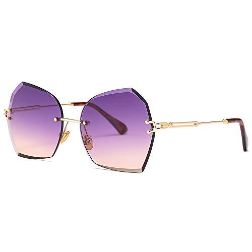 MJDABAOFA Sonnenbrillen,Gradient Randlose Butterfly Lady Sonnenbrille Gold Frame Farbverlauf Lila Objektiv Frauen Metallrahmen Übergrosse Sonnenbrille Mädchen