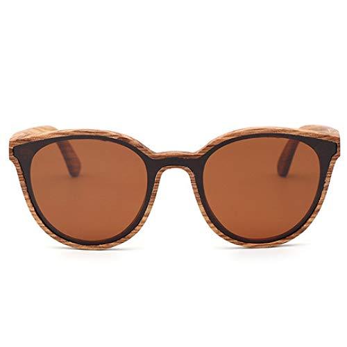 Lozse Holz Sonnenbrille UV400 Einteilige Linse Damen Bambus Brille polarisierte UV-Schutzbrille -