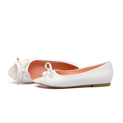 Odomolor Donna Punta Aperta Tacco Basso Finta Pelle Scamosciata Puro Heeled-Sandals Bianco