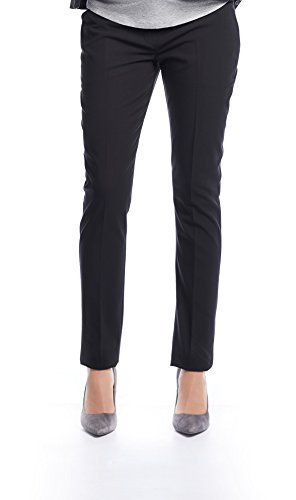 Queen Mum Damen Maternity Business-Hose Umstands-Hose Schwangerschafts-Hose mit Bügelfalte stützendem Bauchband Twill schwarz Gr. 36 Twill Bootcut-hose