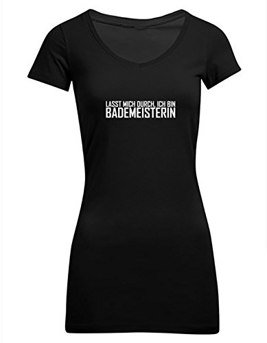Lasst mich durch, ich bin Bademeisterin, Frauen T-Shirt Extralang Schwarz