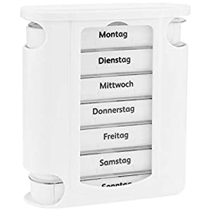 WELLGRO Tablettenbox für 7 Tage, je 4 Fächer pro Tag, 11 Farben zur Auswahl