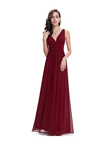 MOOPYS& Women Long Chiffon Women Prom Gowns Formal Evening Prom Dress Bridesmaid Dress Burgundy 12
