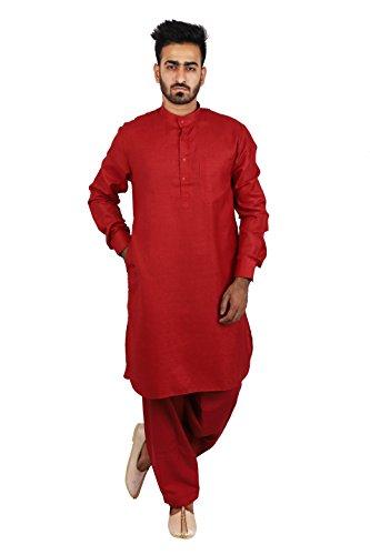 Thaath Men's Maroon Pathani Kurta-Pyjama Set (Eid Collection)