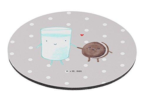 Mr. & Mrs. Panda Mauspad rund Milch & Keks - Milk, Cookie, Milch, Keks, Kekse, Kaffee, Einladung Frühstück, Motiv süß, romantisch, perfektes Paar, Mouse Pad rund, Mousepad, Computer, PC, Kreis, Mauspad, Maus, Geschenk, Druck, Schenken, Motiv, Arbeitszimmer, Arbeit, Büro