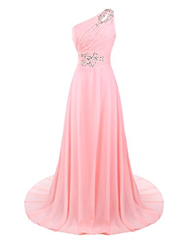 Dresstells Damen One Shoulder Abendkleider Chiffon Brautjungfernkleider Orange