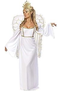 Smiffys-31289M Disfraz De Ángel, Con Vestido, Corona Y Alas, color blanco, M-EU Tamaño 40-42 (Smiffy