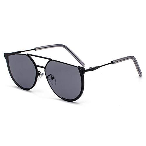 FURUDONGHAI Neue persönlichkeit halbkreis Sonnenbrille Frauen Mode Legierung Retro Brille männer uv400 Schutz besonders geeignet für sommerreisen oder Outdoor s (Farbe : Black)