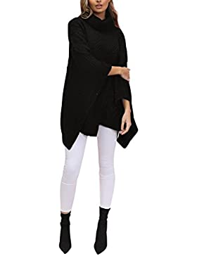 Simplee Apparel Women 's Turtle Neck Knitted Jumper poncho capa suéter