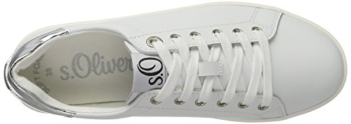 s.Oliver 23608, Sneakers Basses Femme Blanc (White)