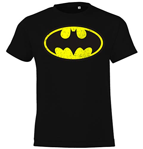 Kinder T-Shirt Modell Vintage Batman, Gr. 130/140 (10 Jahre), Schwarz - Shirt Vintage Spiderman