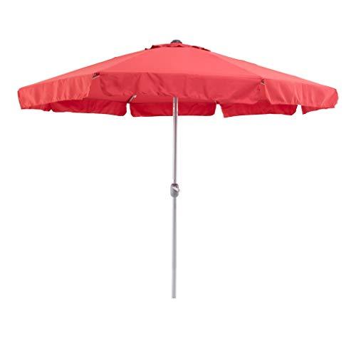 SORARA Sonnenschirm Parasol | Rot | Ø 300 cm / 3m | Rund Palermo | Polyester 180 g/m² (UV 50+)| Kurbel & Pendel (excl. Base)