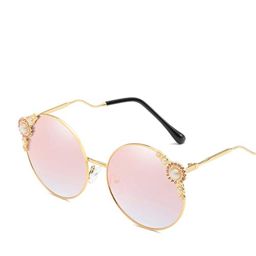 Wenkang Pearl Women Sunglasses Designer Metal Frame Round Sun Glasses Vintage Eyewear Female Sunglass Shades Glasses,1