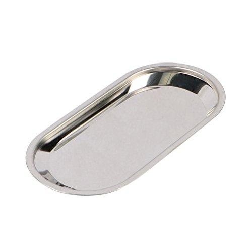 BESTONZON Edelstahlschalen Foodservice Tablett Serving Party Platten Dental Medical Flat Lab Snack Handtuch Instrument Tablett Größe L (Silber)
