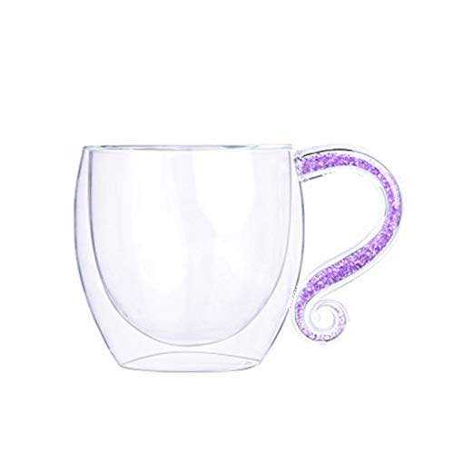 grubnos Becher Personalisierte Customized Double Wall Cupmit Crystal & Acryl Strass gefüllt HandgriffGlas Kaffeetassen, lila Double Wall Acryl