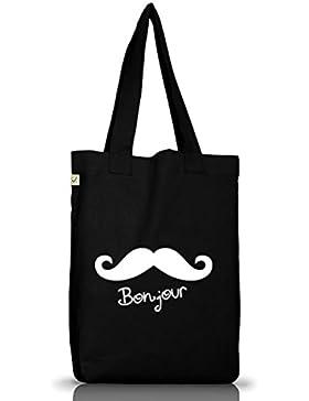 Shirtstreet24, BONJOUR MOUSTACHE, Mustache Schnurrbart Jutebeutel Stoff Tasche Earth Positive