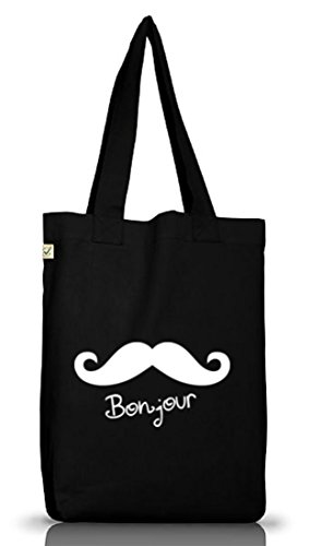 Shirtstreet24, BONJOUR MOUSTACHE, Mustache Schnurrbart Jutebeutel Stoff Tasche Earth Positive Black