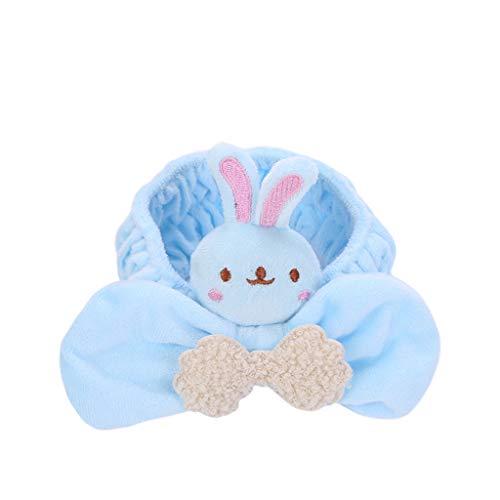 oon-Tierpuppe Spielzeug Stirnband Frauen Mädchen dicken Samt breit Stretch Haarband große Schleife flauschig Make-up Dusche Turban grau himmelblau ()