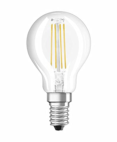 NEOLUX 4052899970199 Clear Warm Filament Style Classic Mini Ball Shape LED Lamp with Screw Base, Glass/Plastic, White, E14, 4 W, 2700