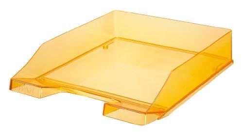 Han - Vaschetta portacorrispondenza Standard in plastica trasparente, impilabile verticalmente o sfalsata, per documenti formato C4, 25,5 x 6,5 x 34,8 cm, colore: Arancio