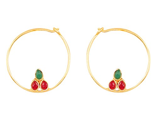 Touchstone Indian Bollywood traditional and modern thin wire hoop bali designer jewelry earrings embellished with faux ruby and Kundan polki stones for women in gold tone.  available at amazon for Rs.279