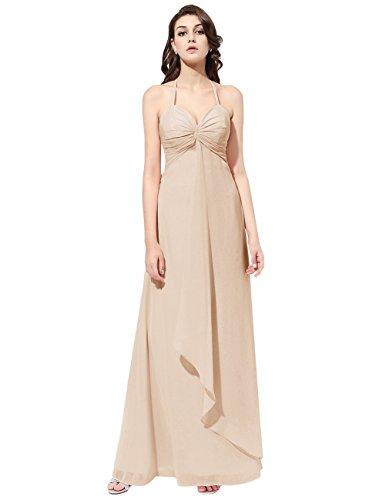 Dresstells Robe de demoiselle d'honneur Robe de cérémonie col en cœur bretelles spaghetti longueur ras du sol Champagne