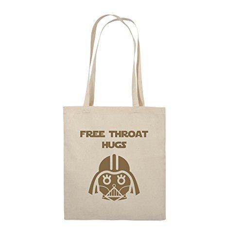 Comedy Bags - FREE THROAT HUGS - Jutebeutel - lange Henkel - 38x42cm - Farbe: Schwarz / Pink Natural / Hellbraun