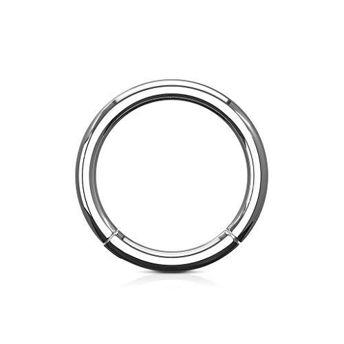Trend Agent Piercing Ring Septum Clicker SEGMENTRING Nasenring Damen Herren SCHMUCK Chirurgenstahl Ohrring 1.2 x 8mm Silber - Chirurgenstahl