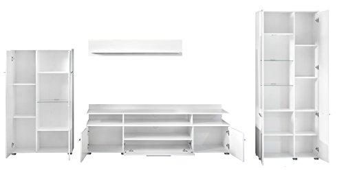 trendteam VIS96301 Wohnwand Kombination Weiß Hochglanz, Stellmaß BxHxT 370 x 193 x 45 cm - 2