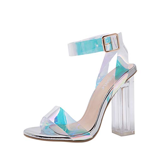 Fuibo Damen Sandaletten High Heels Pumps mit Blockabsatz Frauen Sommer Schnalle hochhackigen Peep Toe Sandalen Party Schuhe Riemchensandalen (38 EU, Silber) -
