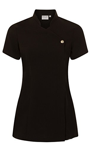 Proluxe Press Stud Salon Tunic – Beauty Hairdressing Massage Therapist Spa Health Work Nail Uniform – Available In 8 Colours (10, Black)