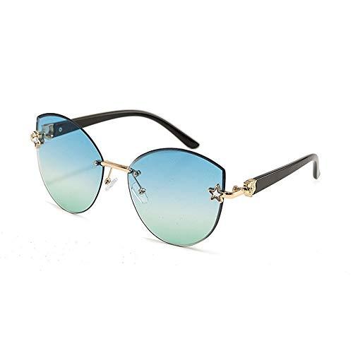Easy Go Shopping Frameless Outdoor-Sonnenbrillen für Frauen, einfach , getrimmte Marine-Teile, Farbverlauf Sonnenbrillen und Flacher Spiegel (Farbe : Blue/Green)