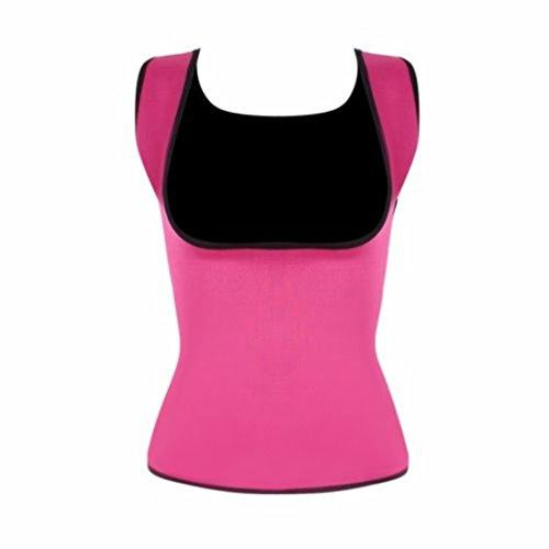 MISS MOLY Damen Neopren Schlankheitskur Sauna Corsage Korsett Bauchweg Training Taillenkorsett abnehmen Shirt Taillenformer Rosa 2XL -