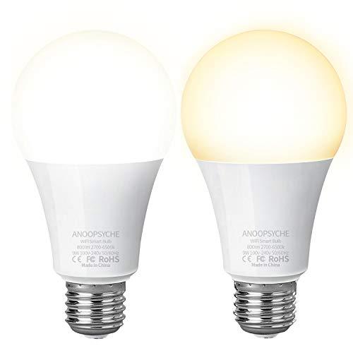 WLAN Smart LED Lampe ANOOPSYCHE Smart Glühbirnen 9W E27 800LM Timing Funktion warmweiß bis tageslicht(2700K-6500K) Alexa Lampe steuerbar via APP kompatibel mit Alexa,Google Assistant