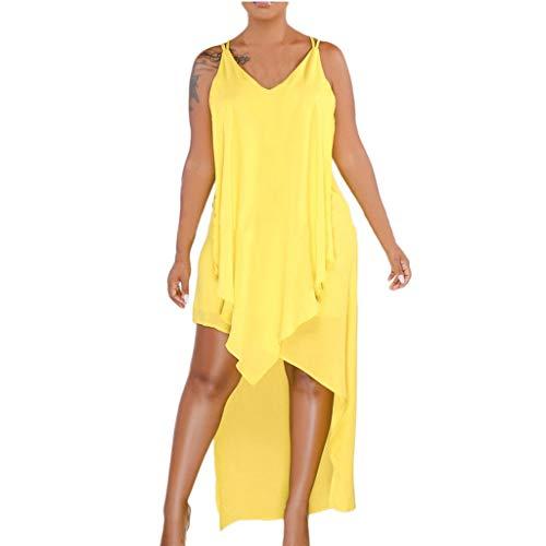 Bibao Damen Halfter High-Low Chiffon kurz Brautjungfer Kleid ärmellos Cocktailkleid Abendkleid Party Kleid XL gelb - Grau Chiffon Halfter