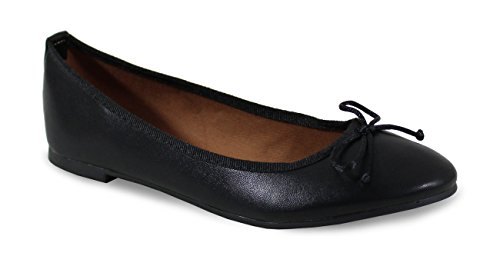 By Shoes - Ballerine Plate Style Cuir - Femme - Taille 40 - Black