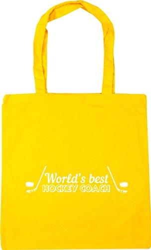HippoWarehouse del mundo mejor entrenador de Hockey bolsa de la compra bolsa de playa 42cm x38cm, 10litros, amarillo, Talla única