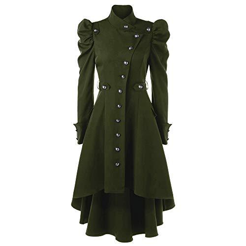 iHENGH Damen Herbst Winter Bequem Mantel Lässig Mode Jacke Frauen Womens Vintage Steampunk Langen Mantel gotischen Mantel Damen Retro Jacke(Grün, ()