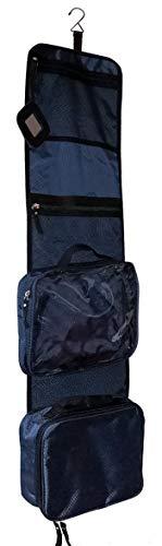 VAN BEEKEN Großer Kulturbeutel Kulturtasche zum Aufhängen für Männer Frauen I Reise Kosmetiktasche groß I Waschtasche mit Flüssigkeitsbehälter Schlafbrille I Waschbeutel Herren Damen Blau