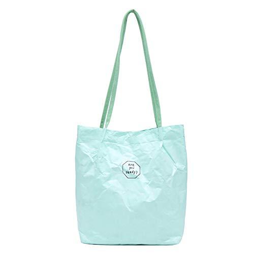 Rosvola Kraftpapier-Umhängetasche, Frauen, die Einkaufstasche der großen Kapazität falten(Grün)
