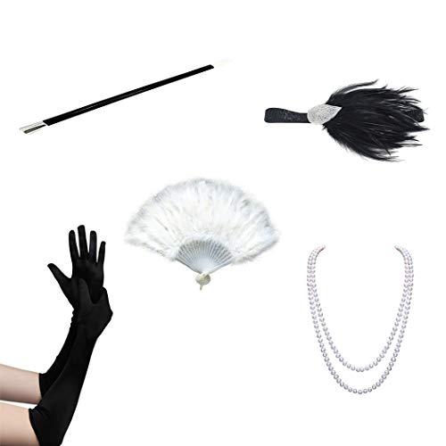 FORLADY 1920er Jahre Zubehör Maskerade Requisiten Halloween Kostüme Prom Party Halskette Lange Zigarettenspitze Feder Kopf mit Handschuhen 4/5-teiliger Anzug für ()