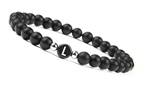 ® Partner Perlenarmband mit Buchstabe (Geschenk für Paare) Freundschaftsarmband für 2 (Buchstabe L)