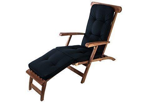 1a-handelsagentur Auflage Teak Deckchair Relaxliege Liegestuhl Sonnenliege Gartenliege Gartenstuhl, Farbe:Tarim schwarz