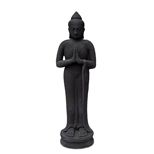 (FaHome Buddha Skulptur Stehend aus Lavasand Stein - Ca. 120 cm groß | Deko Statue Figur Guss Massiv Schwarz)