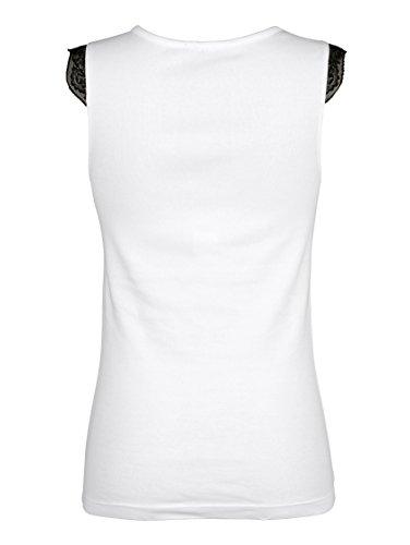 Damen Achselhemden mit kontrastfarbigen Spitzendetails by Simone 2x weiß/schwarz